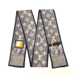 Louis Vuitton Silk Denim Trunk Bandeau Scarf